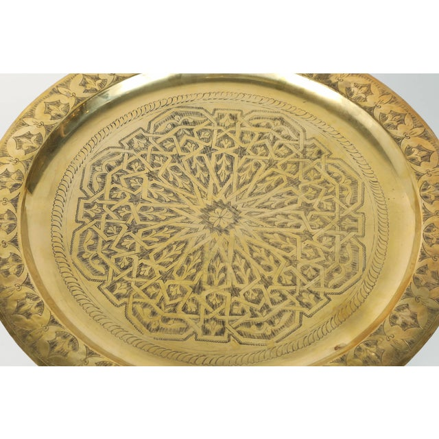 Polished Moroccan Brass Tray Side Table on Spider-Leg For Sale - Image 4 of 8