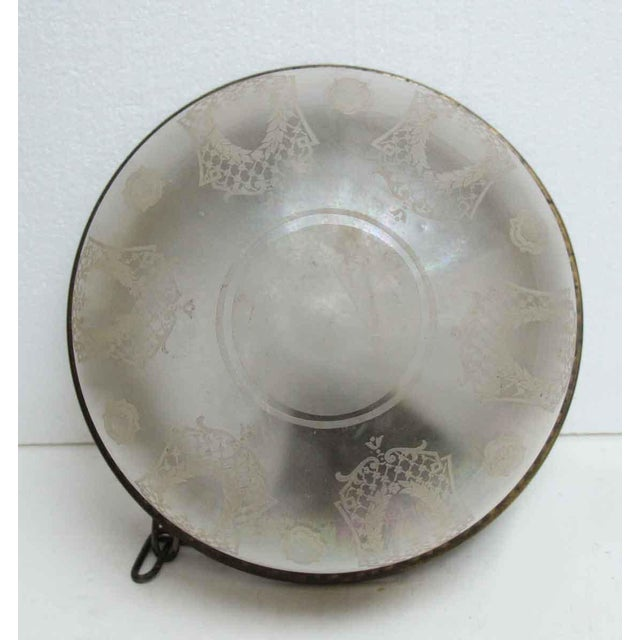 Traditional Opalescent Etched Hanging Flush Mount or Pendant Light Fixture For Sale - Image 3 of 6