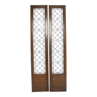 Oak Windows With Leaded Glass Side Lights - a Pair For Sale