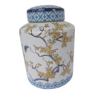 Vintage Blue and White Ginger Jar With Butterflies and Cherry Blossoms For Sale