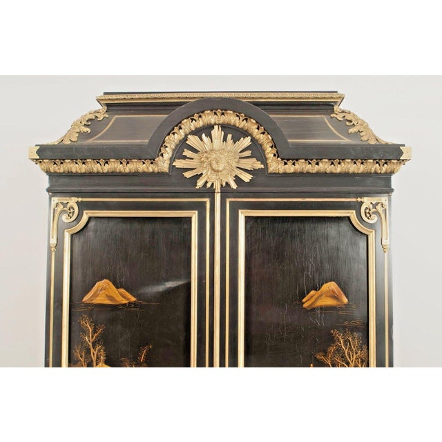 Wood French Victorian Chinoiserie Decorated Armoire Cabinet For Sale - Image 7 of 11