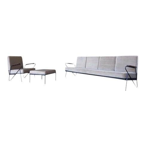 Modern Gray Velvet Sofa, Lounge & Ottoman - Set of 3 - Image 1 of 7