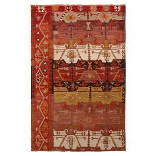 "Vintage Emirdag Red Wool Kilim Rug-4'7'x7'1"" For Sale"