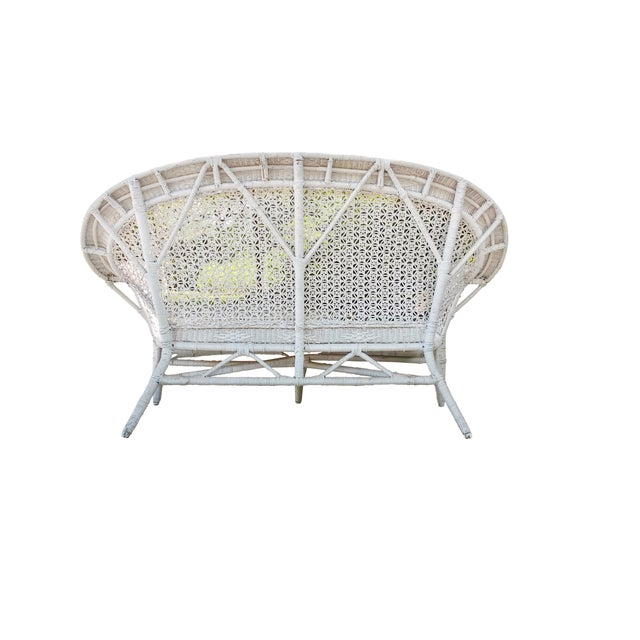 White Wicker Settee For Sale - Image 7 of 9