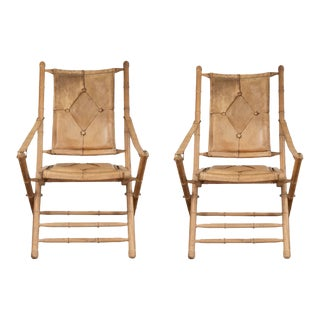 Leather Campaign Style Folding Chairs- a Pair For Sale