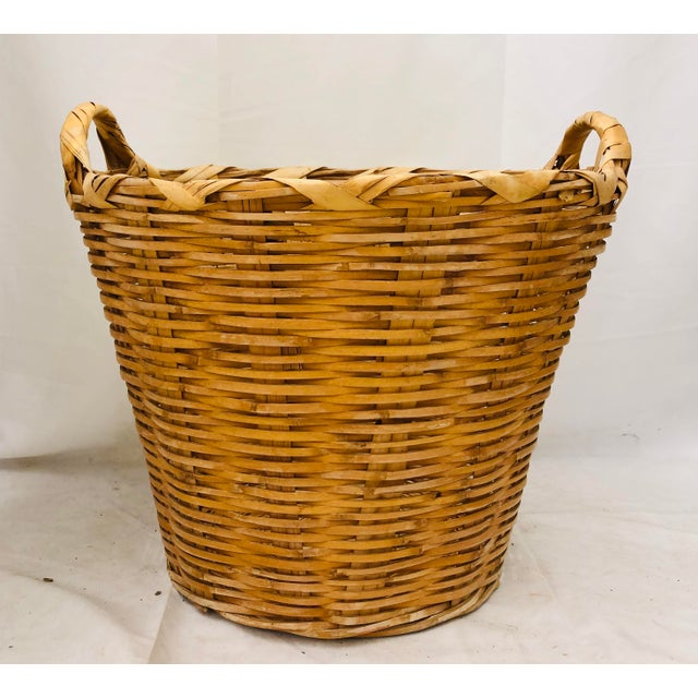 Shabby Chic Vintage Natural Woven Wicker Laundry Basket For Sale - Image 3 of 9