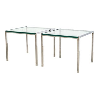 Mid Century Milo Baughman Style Chrome & Glass Side Tables For Sale