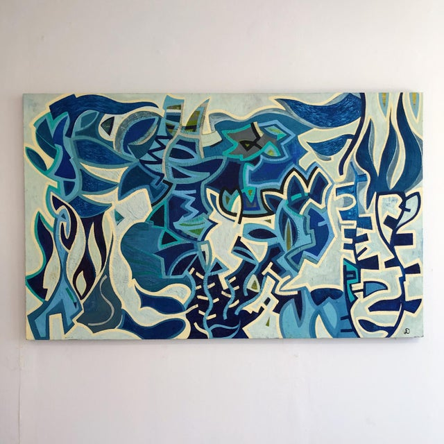 1980s Abstract Multi Blue Colored Oil on Canvas Painting For Sale - Image 10 of 10