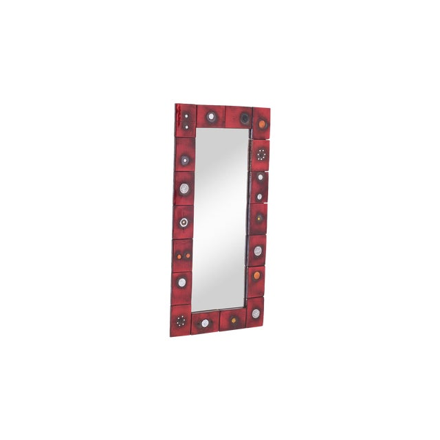 Ceramic Tile Mirror by Oswald Tieberghien in Red Glaze For Sale