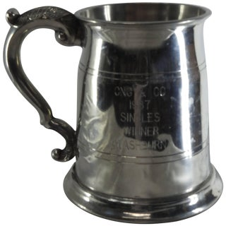 Sheffield England Classic Engraved Pewter Tankard For Sale