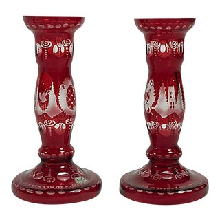 Bohemian Cut Crystal Cranberry Candlesticks, a Pair For Sale
