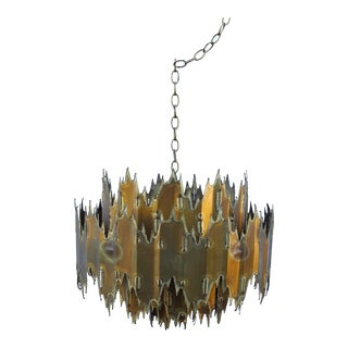 1960s Tom Greene Brutalist Brass Chandelier For Sale