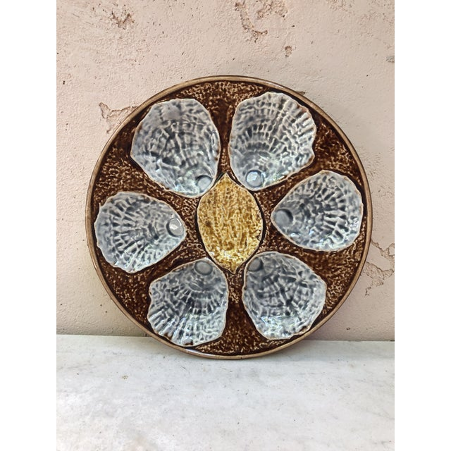 Ceramic C.1890 French Majolica Oyster Plate For Sale - Image 7 of 7