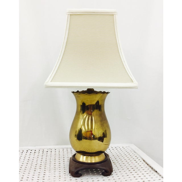 Vintage Brass & Wood Base Table Lamp For Sale - Image 4 of 6