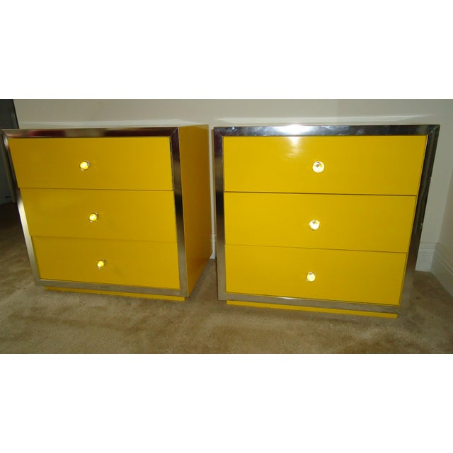 Mid-Century Modern Yellow Nightstands - A Pair - Image 2 of 6