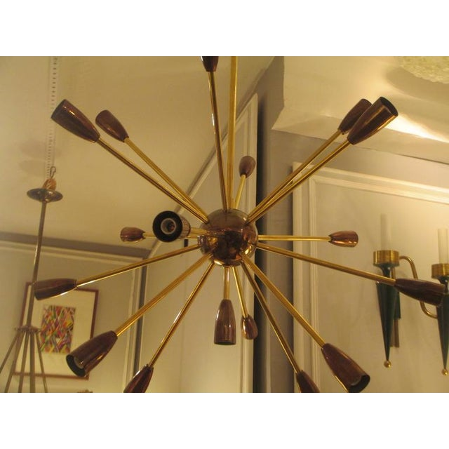 Contemporary Custom Brass and Copper Sputnik Chandelier with 14 Arms For Sale - Image 3 of 7