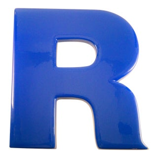 "Vintage Industrial Blue Auto ""R"" Sign For Sale"