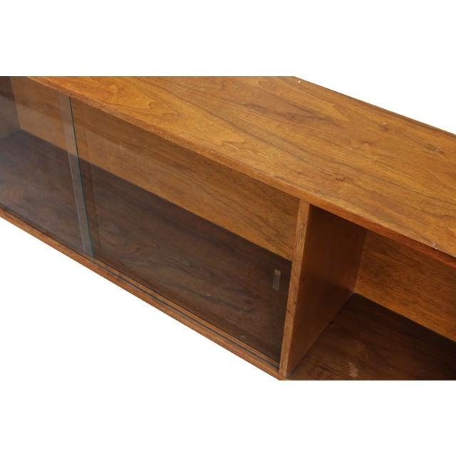 Walnut Bookshelf with Sliding Glass Doors For Sale - Image 5 of 6