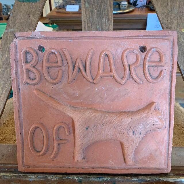 Folk Art Plaster Beware of Cat Sign For Sale - Image 3 of 6