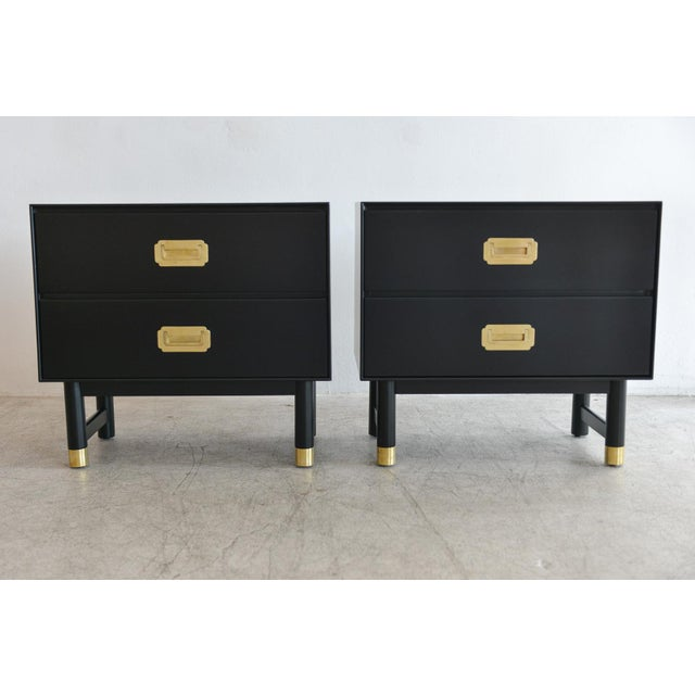 Campaign 1960s Black Lacquer and Brass Campaign Nightstands - a Pair For Sale - Image 3 of 11