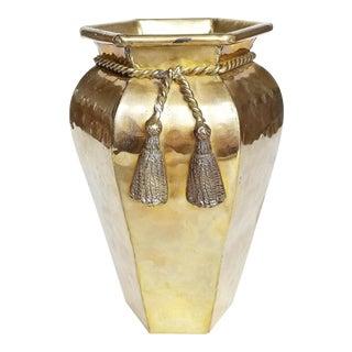 Hollywood Regency Hammered Brass Tassel Vase For Sale