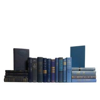 Midcentury Denim & Gold : Set of Twenty Decorative Books For Sale