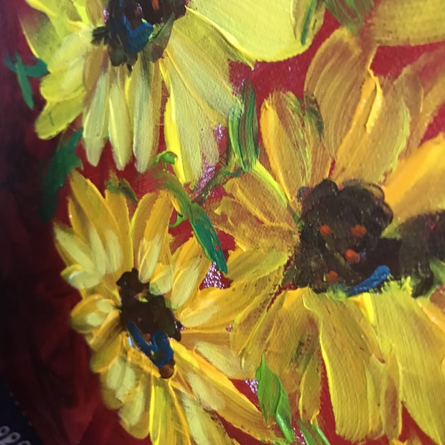 Ruby Red Sunflowers on Red Contemporary Painting For Sale - Image 8 of 9