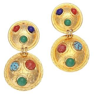 Double Shield Dangle Earrings For Sale