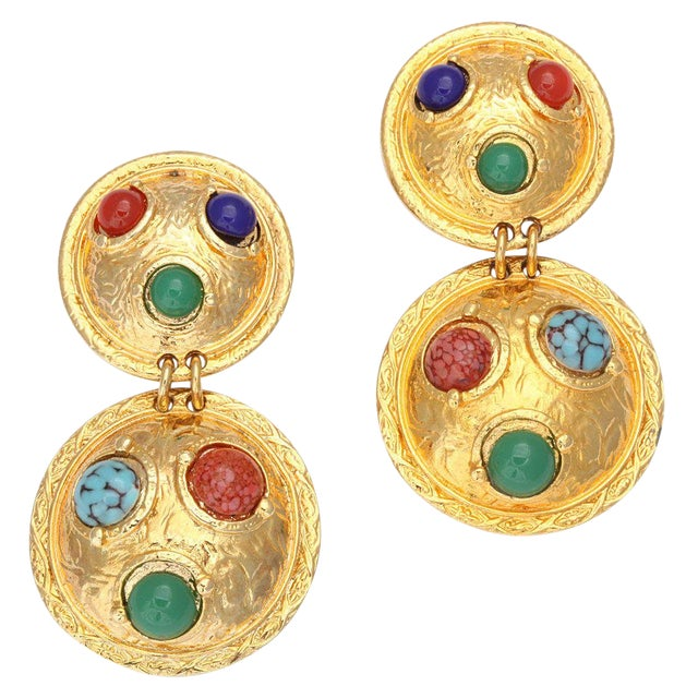 Double Shield Dangle Earrings For Sale
