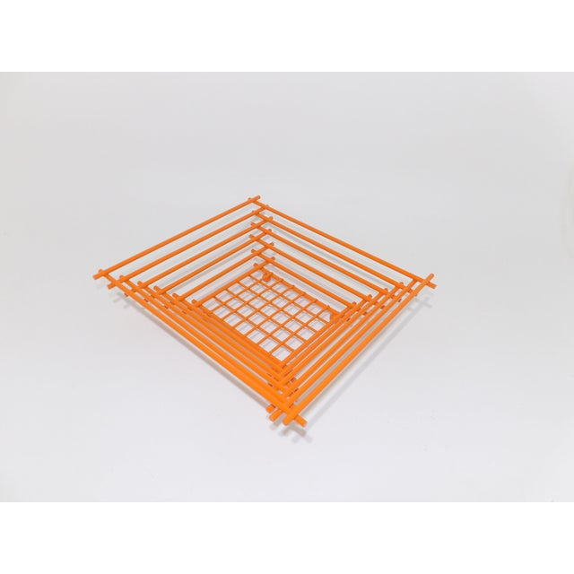 Metal Mid-Century Modern Geometric Orange Metal Wire Fruit Dish For Sale - Image 7 of 8