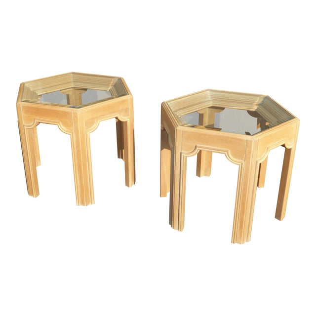 mid century gordons hexagon white wash end tables a pair no glass for - White Wash End Tables