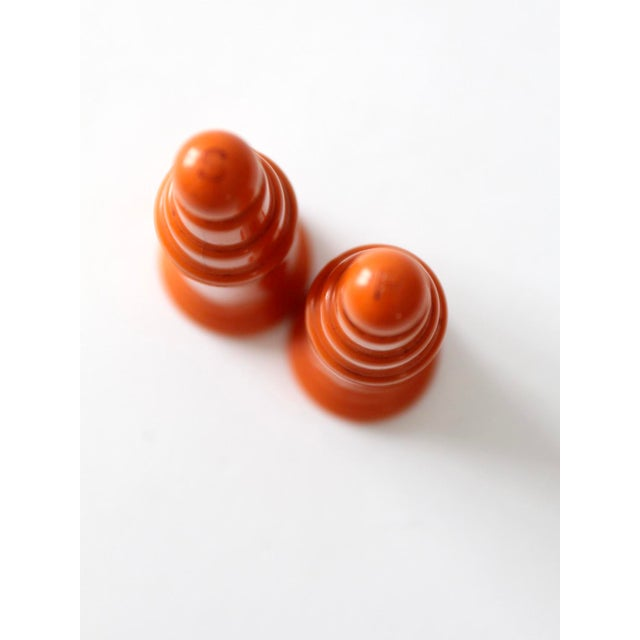 Mid-Century Modern Vintage Push Top Orange Plastic Salt and Pepper Shakers For Sale - Image 3 of 8