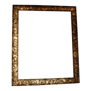 Antique Gesso Gold Leaf Floral Wood Picture Frame For Sale