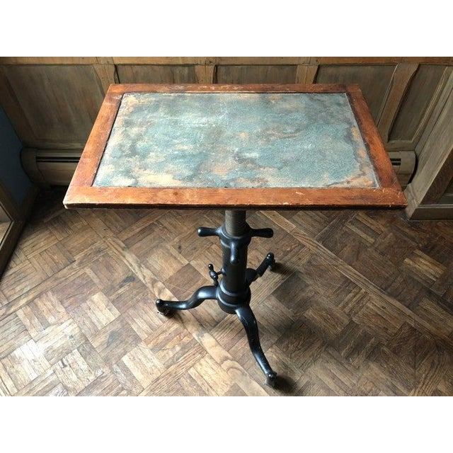 1910s Antique Industrial Adjustable Cast Iron Drafting Table / Desk For Sale - Image 5 of 11