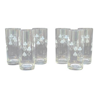 Suit of Cards Highball Glasses - Set of 6