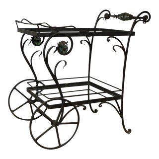 1970's Vintage Iron Bar Cart For Sale