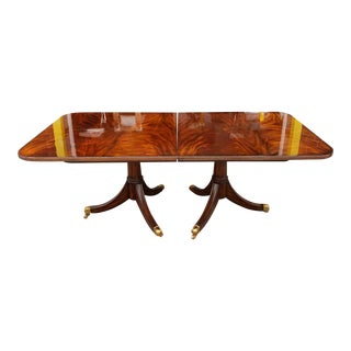 Maitland Smith Flame Mahogany Regency Style Dining Room Table W/ 2 Leaves #8100-35 For Sale