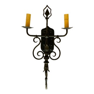 Vintage Spanish Wrought Iron Double-Light Sconce For Sale