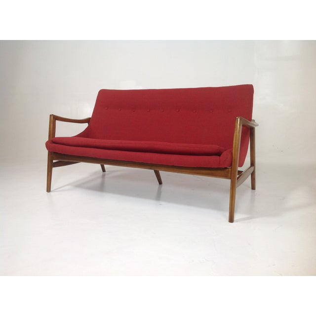 Red Chenille Mid-Century-Style Lounge Sofa - Image 2 of 6
