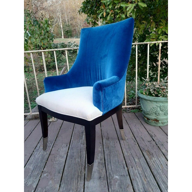 """Contemporary Caracole """"You'Re Invited"""" Blue and White Upholstered Side Chair For Sale - Image 3 of 13"""
