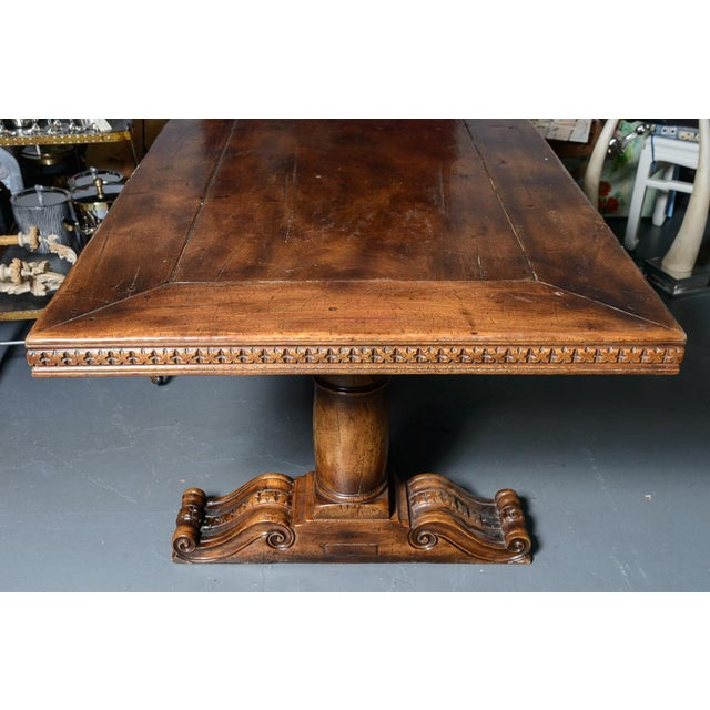 Fabulous Large French Antique Hand Carved Oak Wood trestle Library Table, Dinning table or Center table Beautifully hand...