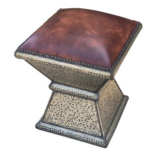 Leather Ottoman With Engraved Metal Base For Sale