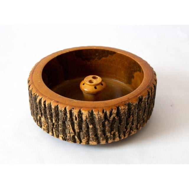 Americana 1940s Vintage Circular Wood Nut Bowl For Sale - Image 3 of 6