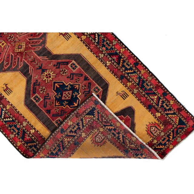 """Traditional Apadana - Vintage North West Persian Rug, 4'4"""" X 10'8"""" For Sale - Image 3 of 9"""