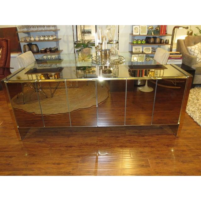 Vintage Ello Bronze Mirror Buffet with Brass Trim - Image 2 of 6