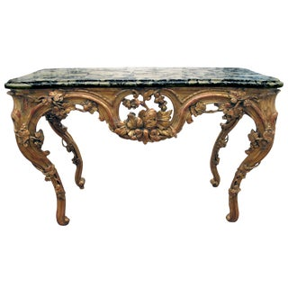 A Finely Carved Venetian Rococo Giltwood Console With Marble Top For Sale