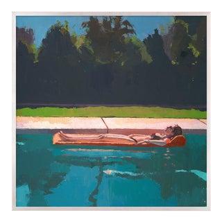 Solo Float by Caitlin Winner in Whitewash Frame, Medium Art Print For Sale