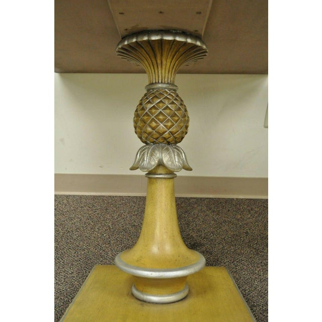 1950s Italian Carved Wood Blue Tile Top Pineapple Pedestal Tables - a Pair For Sale - Image 4 of 10