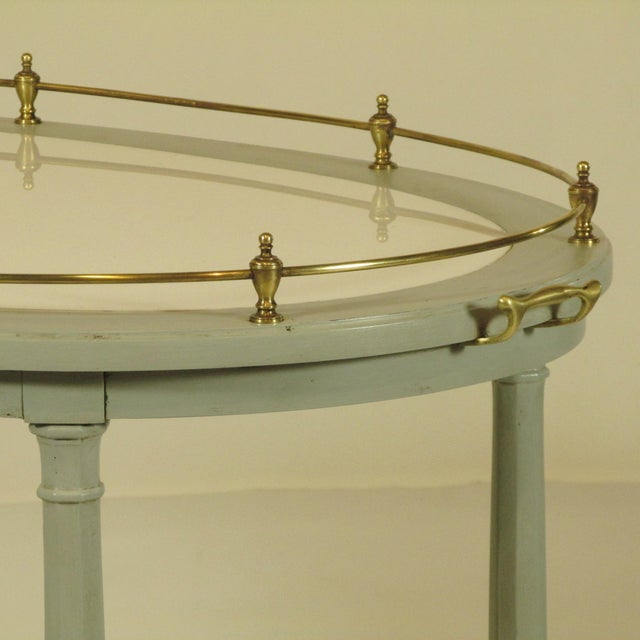Gold English Gray Painted Tea Cart For Sale - Image 8 of 11