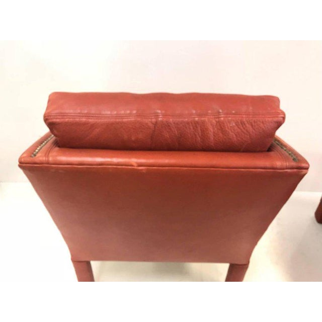1960s Leather Lounge Chair and Ottoman Style of Gilbert Rohde For Sale - Image 5 of 8